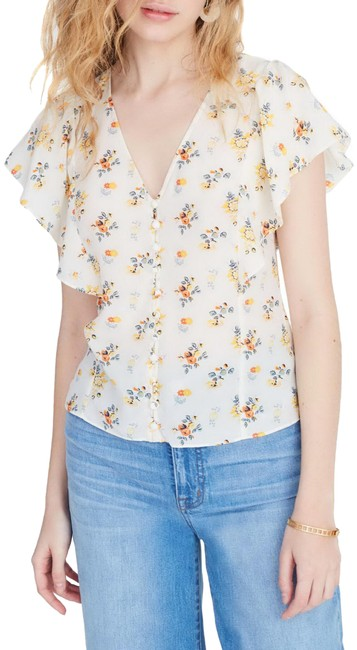 Item - Spray Floral Pearl Flutter Sleeve Silk Button-down Top Size 14 (L)