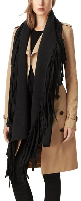 Item - Black Solid Felted Fringe Knitted Wool Cashmere Poncho/Cape Size OS (one size)