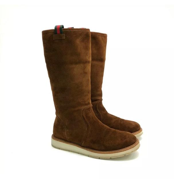 Gucci Web Suede Shearling Boots/Booties Size EU 37.5 (Approx. US 7.5) Regular (M, B) Gucci Web Suede Shearling Boots/Booties Size EU 37.5 (Approx. US 7.5) Regular (M, B) Image 1