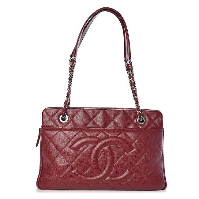 Item - Dark Burgundy Timeless Shopper 20ck1220 Red Soft Caviar Leather Tote