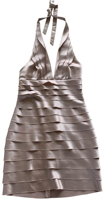 Item - Pink Champagne Silky Halter Mid-length Cocktail Dress Size 8 (M)