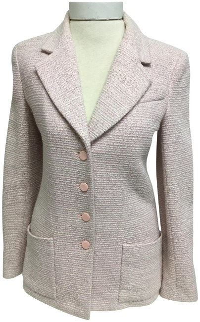 Item - Pink Light Tweed with Logo Buttons Jacket Size 6 (S)