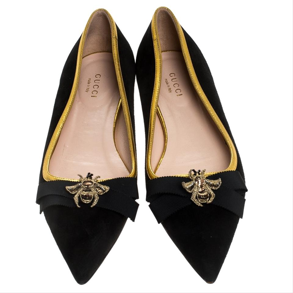 offer discounts classic styles autumn shoes Gucci Black Suede Butterfly Bow Embellished Pointed Toe Ballet ...