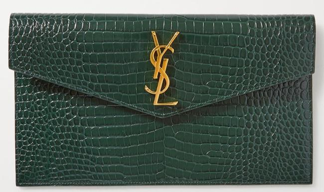Item - New Ysl Croc Pouch Purse New Green Leather Clutch