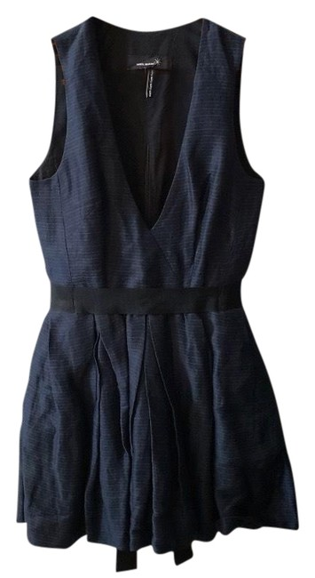 Item - Black Blue Striped Linen-blend Short Casual Dress Size 0 (XS)