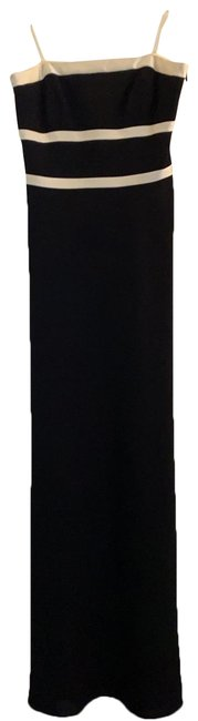 Ann Taylor Black with Ivory Piping 43701407 Long Formal Dress Size 4 (S) Ann Taylor Black with Ivory Piping 43701407 Long Formal Dress Size 4 (S) Image 1