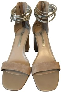 Audrey Brooke Beachy Trendy Strappy Casual Heels Beige Sandals