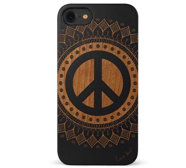 Case Yard Black New Cherry Wood Iphone with Vintage Peace Design Iphone 6s Tech Accessory Case Yard Black New Cherry Wood Iphone with Vintage Peace Design Iphone 6s Tech Accessory Image 1