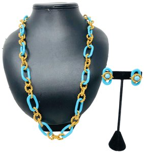 Miriam Haskell Vintage MIRIAM HASKELL turquoise/gold necklace & earrings set