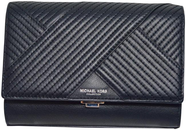 Item - New Yasmeen Quilted Chevron Black Leather Clutch