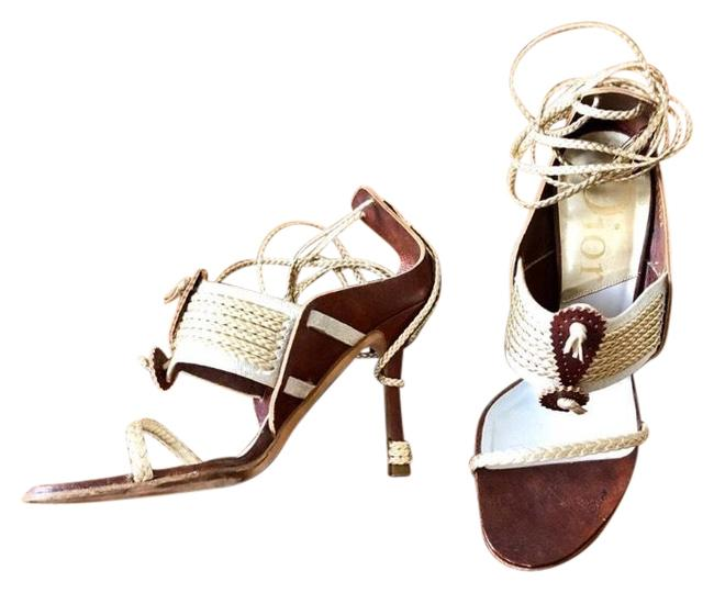 Item - Brown Cream & Gold Vintage Heeled Escarpins with Braided Ankle Ties Sandals Size EU 35.5 (Approx. US 5.5) Regular (M, B)