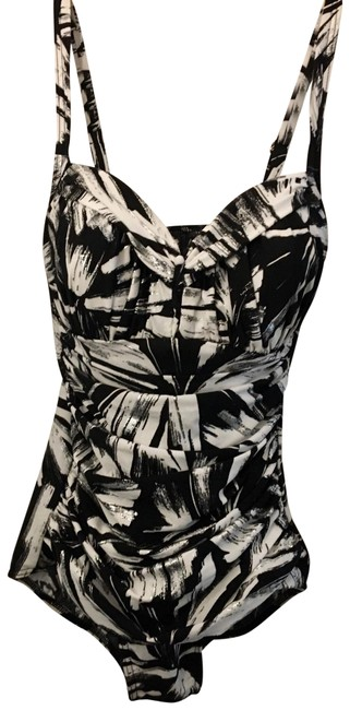 Item - Black and White with Silver Metallic Accents Show Arianna One-piece Bathing Suit Size 12 (L)