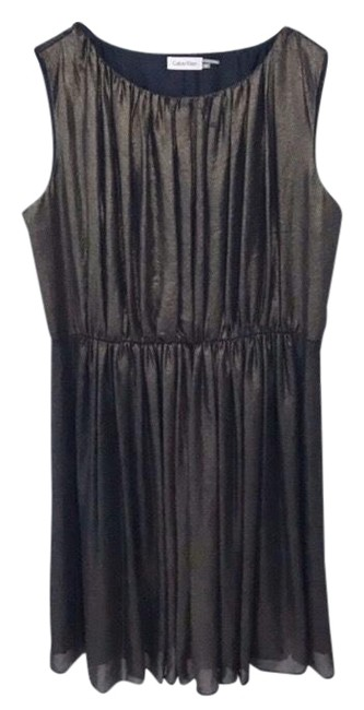 Item - Bronze Gold Holiday Fit and Flare Short Cocktail Dress Size 14 (L)