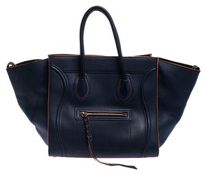 Céline Leather Tote in Navy Blue