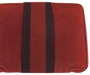 Hermès Red Zip wallet Zippy Zippered Stripe Blue Black Wallet 162588 HTL11