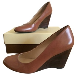 Franco Sarto Comfortable Leather Wedge Tan Brown Wedges