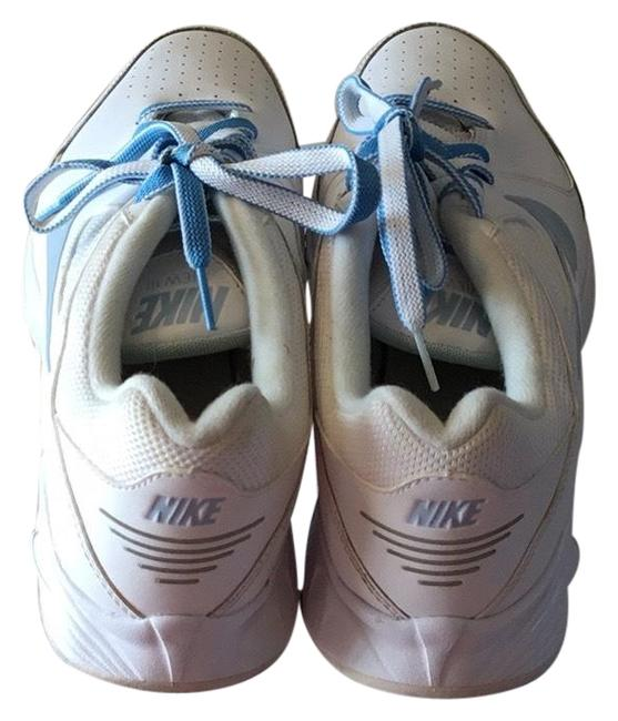 Item - White Leather and Plastic with Baby Blue Leather Inserted In Miscellaneous Places On Top Of Shoe. 454122-140 Sneakers Size US 8.5 Regular (M, B)
