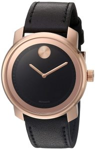 Movado Black Leather Strap Rose Gold Stainless Mens 3600376