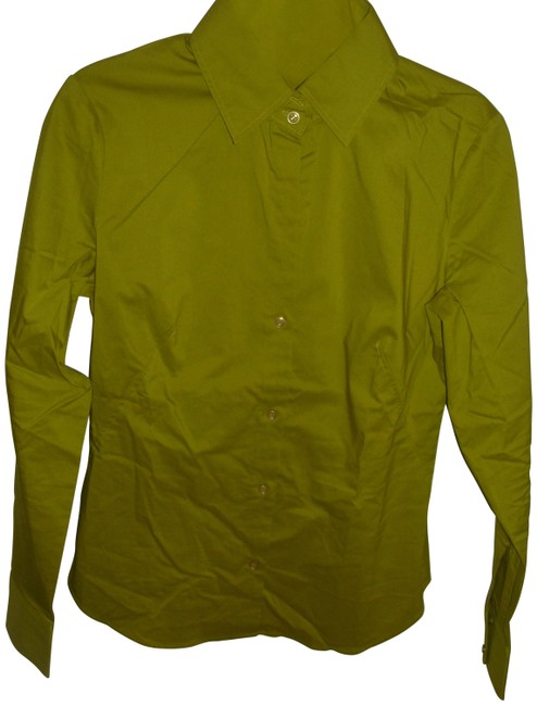 Item - Green Crisp Stretch Cotton Fitted Collar Shirt Lime Button-down Top Size 2 (XS)