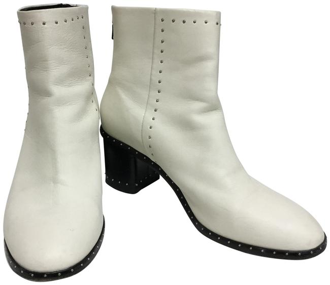 Item - White Ankle with Silver Studs and Back Zippers Boots/Booties Size EU 39 (Approx. US 9) Regular (M, B)