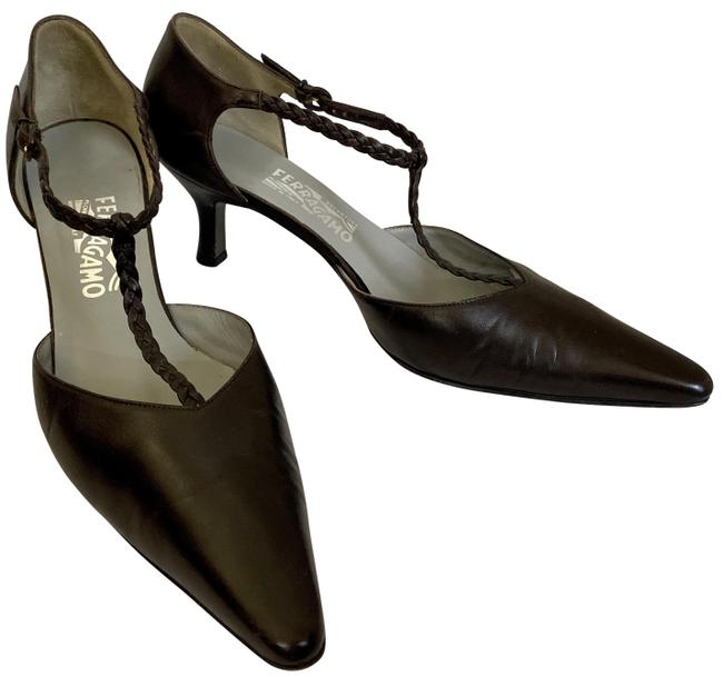 Item - Brown Braided T-strap Pointed Toe Pumps Size US 9.5 Regular (M, B)