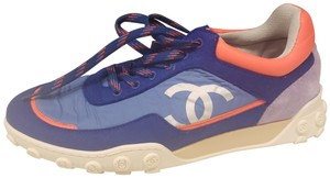 Chanel Flats Sneakers Tennis Kicks Nylon Blue/Coral Athletic
