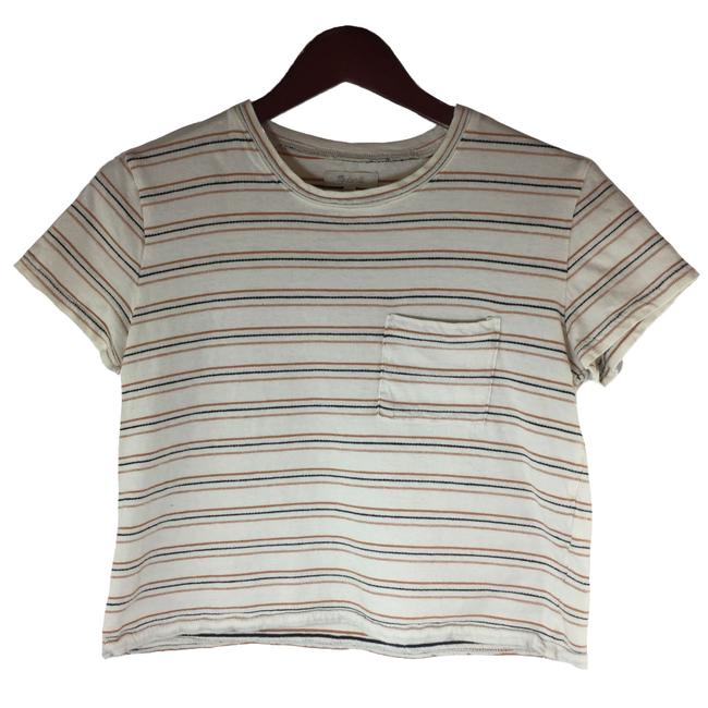 Item - White Black Red XS Textured Easy In Stripe Women's Tee Shirt Size 2 (XS)