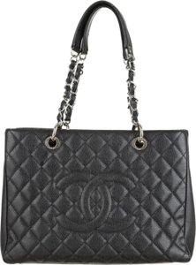 Chanel Gst Grand Shopping Classic Flap Gucci Louis Vuitton Tote in Black Silver