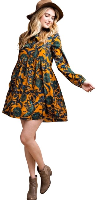 Item - Mustard and Teal Floral Print Vintage Style Short Casual Dress Size 12 (L)