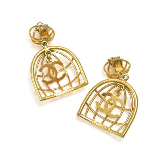 Chanel Vintage Chanel Gold-tone Bird Cage & CC Logo Earrings Image 1