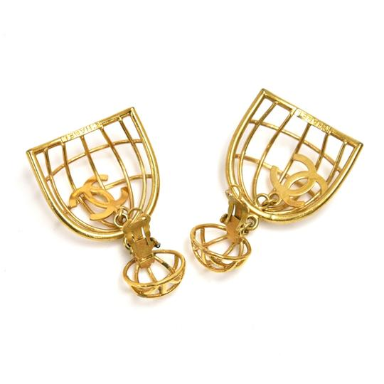 Chanel Vintage Chanel Gold-tone Bird Cage & CC Logo Earrings Image 2