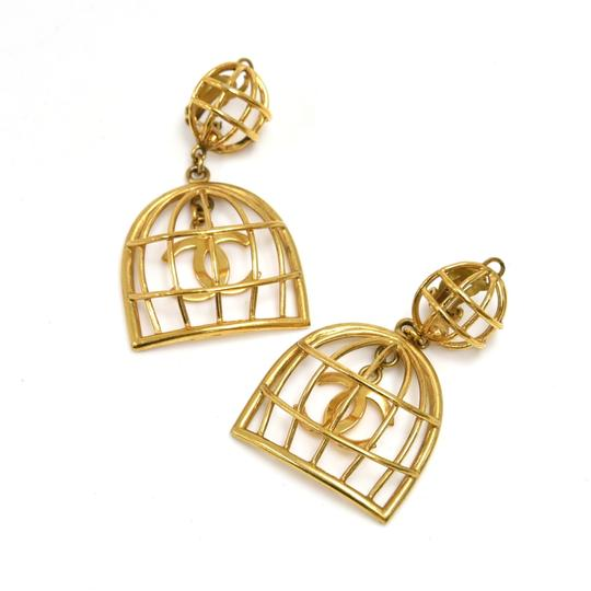 Chanel Vintage Chanel Gold-tone Bird Cage & CC Logo Earrings Image 3
