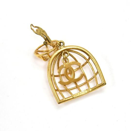 Chanel Vintage Chanel Gold-tone Bird Cage & CC Logo Earrings Image 4