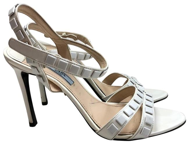 Item - White Milano Embellished Patent Leather Sandals Size EU 38 (Approx. US 8) Regular (M, B)