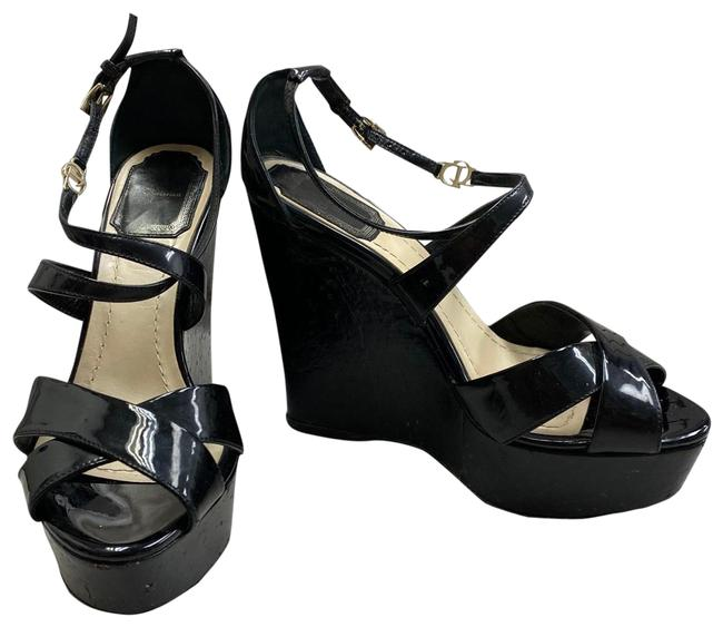 Item - Black Christian Patent Leather Wedges Sandals Platforms Size EU 36.5 (Approx. US 6.5) Regular (M, B)