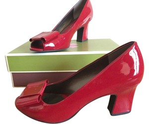 Naturalizer Patent Open Toe Bow Red Pumps