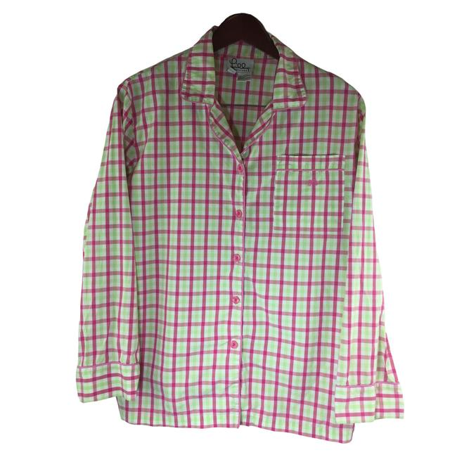 Item - Pink Green White Plaid Women Button-down Top Size 6 (S)