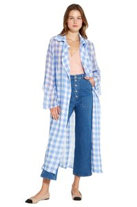Capulet Sheer Checkered Buckle Oversized Trench Coat