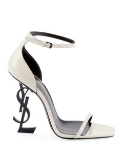 Saint Laurent Opyum Ysl Logo Logo-heel White Patent Sandals