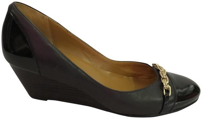 Item - Brown Leather Patent Leather Cap Toe Wedges Size US 7.5 Regular (M, B)