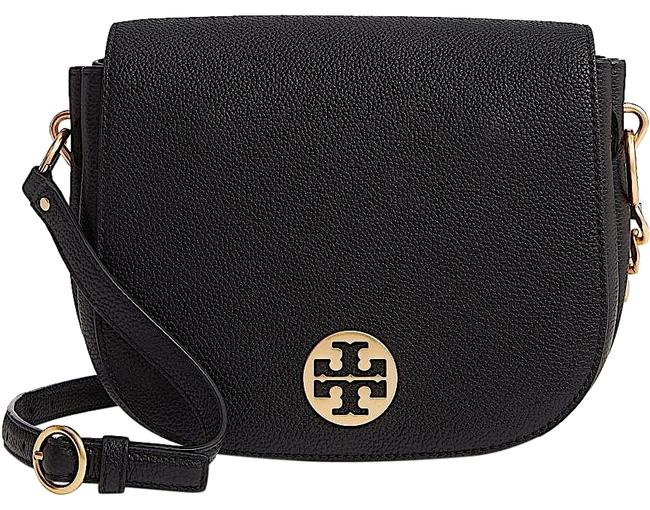 Tory Burch Everly Flap Saddle with Tag Black Leather Cross Body Bag Tory Burch Everly Flap Saddle with Tag Black Leather Cross Body Bag Image 1