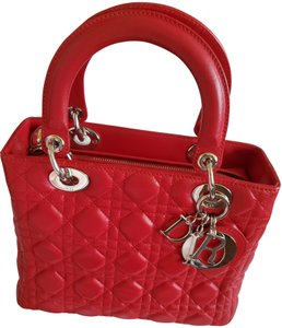 Dior Classic Leather Structured Icon Lambskin Satchel in Cherry Red