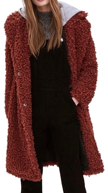 Zara Rust Brown New Sienna Long Teddy Removable Gray Hood Small Coat Size 6 (S) Zara Rust Brown New Sienna Long Teddy Removable Gray Hood Small Coat Size 6 (S) Image 1