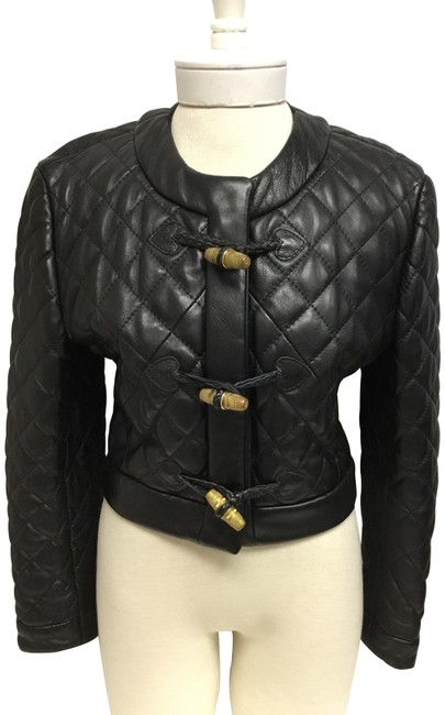 Item - Black Quilted with Thimble Buttons Jacket Size 4 (S)
