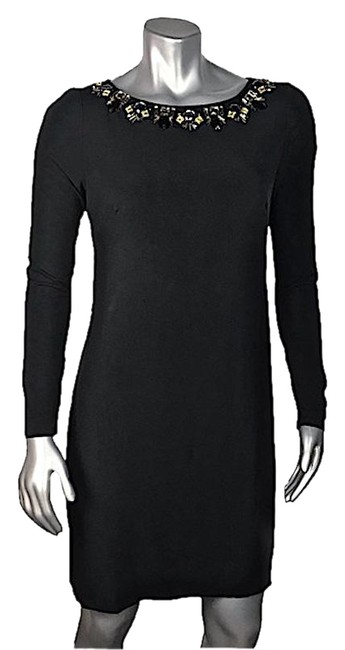 Item - Black Long Sleeve Jeweled Collar B-b Mid-length Night Out Dress Size 6 (S)