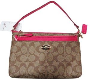 Coach Pink Ruby/Khaki Clutch