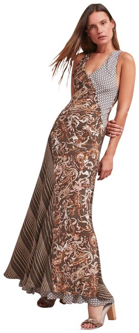 Item - Brown Multiple L Ametris Silk Print Bias Cut Long Night Out Dress Size 14 (L)