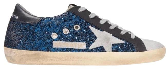 Item - Blue Superstar Distressed Glittered Leather Sneakers Size EU 39 (Approx. US 9) Regular (M, B)