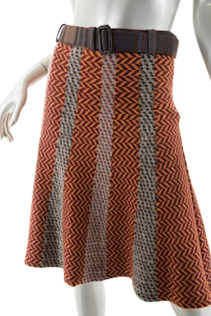 Item - Orange Milano Lana Wool Chevron Orange/Brown/Tan Paneled Knit Skirt Size 14 (L, 34)