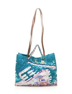 Chanel Limited Edition Vintage Tote Tote Extra Large Turquoise Beach Bag